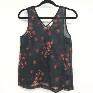 A New Day Sheer Floral Top Sleeveless V-Neck